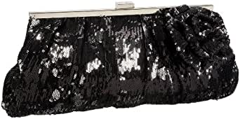 Jessica McClintock Sequins & Satin Floral Clutch,Black,one size