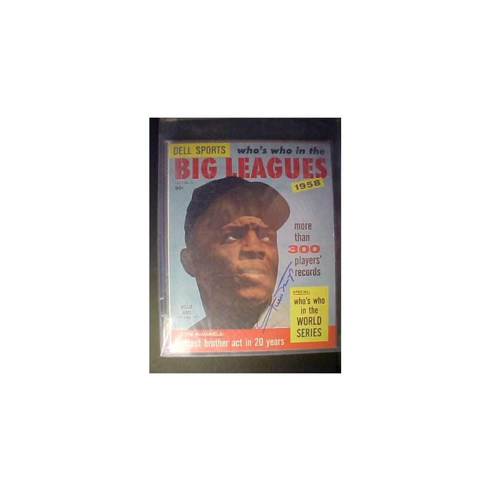 Willie Mays San Francisco Giants Autographed 1958 Dell Sports Whos Who In The Big Leagues Magazine