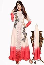 Admyrin Women Georgette Dress Material (Ay-Sk-Bm-1037 _Beige+Peach _X-Large)