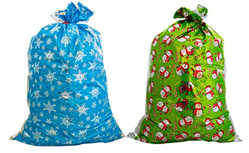 Christmas Giant Metallic Gift Sack Bag (Pack of 2) 31x 47.5 - Great for Large, Bulky or Unusual Shaped Presents (Green and Blue)