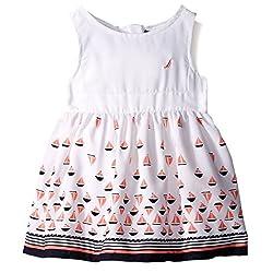 Nautica Toddler Border Sail Print Dress, Sail White, 4T