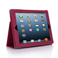 SUPCASE Apple iPad 4 & iPad 3 with Retina Display Slim Fit Folio Leather Case (Deep Pink) - Elastic Hand Strap, Support Auto Wake/Sleep, Compatible with iPad 2, Not Fit iPad 5 from SUPCASE