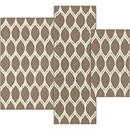 Mainstays Sheridan Ogee 3-piece Accent Rug Set, Caf