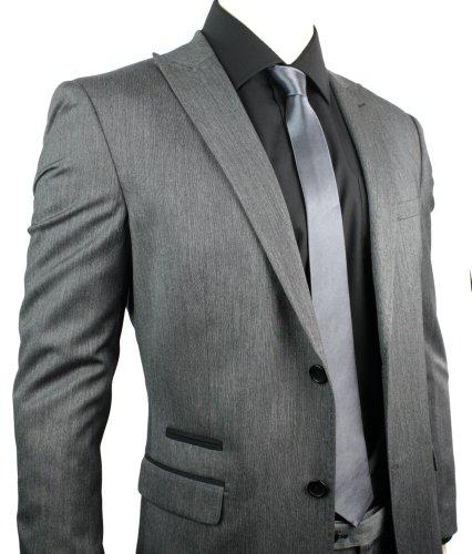 Mens Slim Fit Suit Grey 2 Button Black Trim Stitch Design Office Party or Wedding Suit