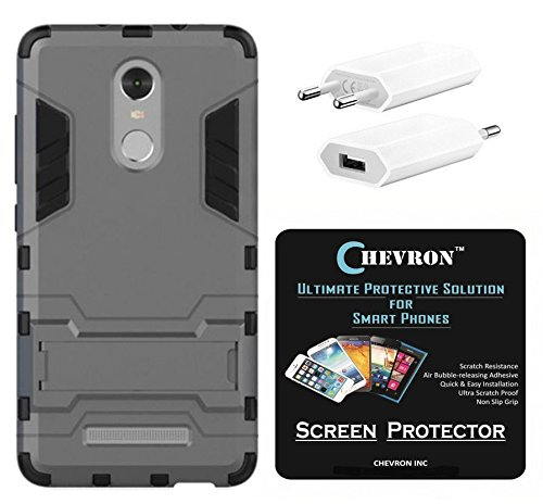 Chevron Rugged Terrain Armor Protective Shockproof Kick Stand Back Cover Case for Xiaomi RedMi Note 3 with HD Screen Guard & USB Mobile Wall Charger (Grey)