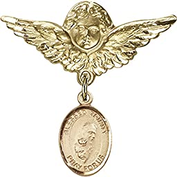 Gold Filled Baby Badge with Blessed Trinity Charm and Angel w/Wings Badge Pin 1 1/8 X 1 1/8 inches