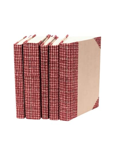 Set of 5 Bespoke Red Tartan Books
