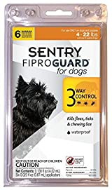 SENTRY Fiproguard For Dogs up tp 22 Pounds Kills Fleas, Ticks, Lice, 6 Doses