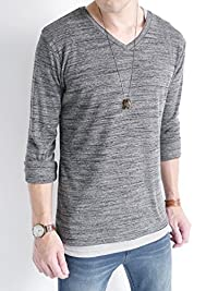 (オークランド) Oakland Vネック フライス カットソー 杢調 ストレッチ 長袖 ゆる Tシャツ ストレッチ カラー メンズ