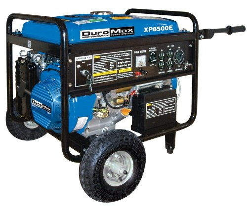 DuroMax XP8500E 8500 Watt 16 HP OHV 4-Cycle Gas Powered Portable Generator With Wheel Kit And Electric Start