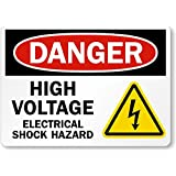 "SmartSign Aluminum OSHA Safety Sign, Legend ""Danger: High Voltage -Electrical Shock Hazard"", 10"" high x 14"" wide, Black/Red on White"