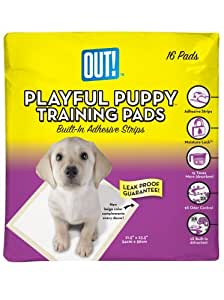 OUT! Playful Puppy Training Pads for Puppies, Built in Adhesive Strips,16 Count