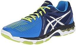 ASICS Men\'s Gel-Netburner Ballistic Volleyball Shoe, Navy/Silver/Electric Blue, 11.5 M US