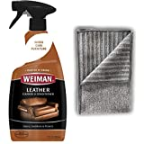 Weiman Leather Cleaner Polish Microfiber Cloth - Non Toxic Clean Condition Car Seats, Shoes, Couches More - 22 Fluid Ounces