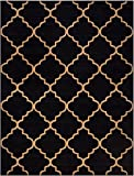 "Conur Collection Trellis Contemporary Modern Design Area Rug Rugs (More Color Options Available) (Black, 5'3""x6'11"")"