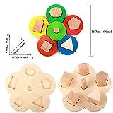 Forma educativos de madera de color Reconocimiento geométrico Pila Ordenar Juego Anillo, juguete regalos de cumpleaños para la edad 3 4 5 años de edad y hasta los niños del cabrito del bebé Niño Niña
