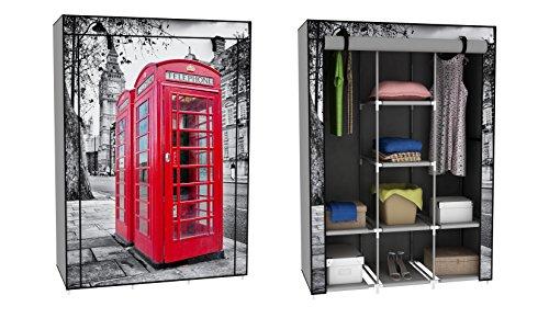 Trendy-Home24-Stoffschrank-Kleiderschrank-mit-roter-Telefonzelle-Motiv-London-6-Fcher-2-Stangen