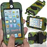 GLITZY GIZMOS GREEN ARMY CAMOUFLAGE SURVIVOR MILITARY COMBAT BUILDERS HEAVY DUTY SHOCK PROOF TOUGH CASE COVER WITH BELT CLIP + BUILT IN SCREEN PROTECTOR FOR APPLE iPOD TOUCH 5 5G 5th GENERATION GEN