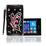 For Nokia Lumia 520 Pink Silver Butterfly On Black Diamond Crystal Gem Hard Shell Protective Back Case Cover + Stylus Pen
