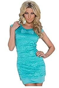 Amazon.com: Mint Floral Lace Dolly Bow Mini Dress LC22056 Vestidos De