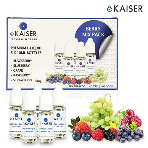 Ekaiser 5 X 10ml E-Flüssigkeit Beeren Mix | Blaubeere | Brombeere | Himbeere | Traube | Erdbeere | Spezielle Formel für Dampf entwicklung und Geschmacks treffer mit nur hochwertige Zutaten | Hergestellt für E-Zigaretten E-Shisha