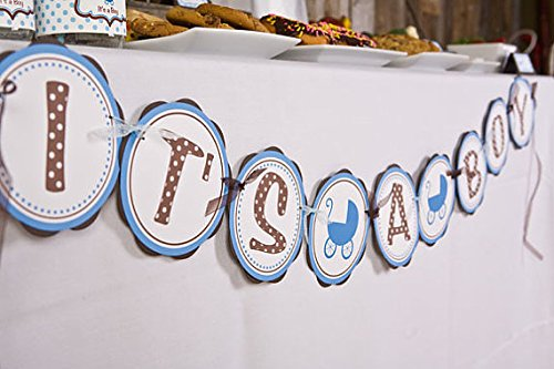 """Blue Carriage """"It'S A Boy"""" Baby Shower Banner (Blue & Brown)"""