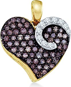 10k Yellow and White Two Tone Gold Round Cut Brown Chocolate and White Diamond Heart Shape Love Pendant (3/4 cttw) by Sonia Jewels