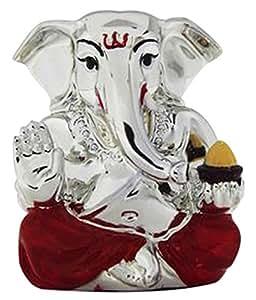 Sun Sea Sun Sea Sun Sea Ganesha Silver Plated Wax Idol