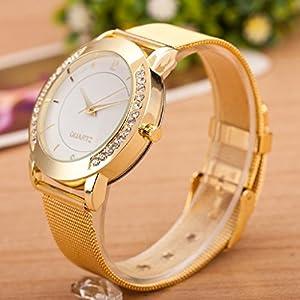 Beautyvan Fashion Women Beautiful Crystal Golden Stainless Steel Analog Quartz Wrist Watchs by Beautyvan