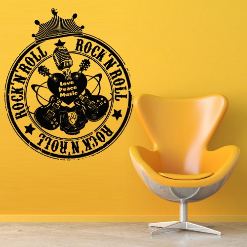 Wall Decal Art Decor Decals Sticker Music Rock Rock And Roll Microphone Guitar Crown Star (M860)