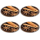 Liili Round Coasters (4 Piece) cinnamon and badian against a background from coffee IMAGE ID 10603431