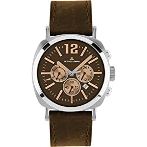 Jacques Lemans Lugano 1-1645G 46mm Stainless Steel Case Brown Calfskin Mineral Men's Watch