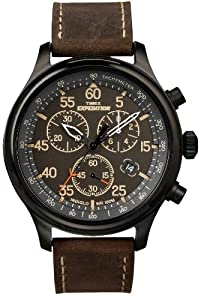 Timex Men?s T49905 Expedition Rugged Field Chronograph Black Dial Brown Leather Strap Watch
