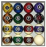 Pool Table Billiard Ball Set, Dark Color Marble Swirl