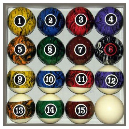 Lowest Price! Pool Table Billiard Ball Set, Dark Color Marble Swirl