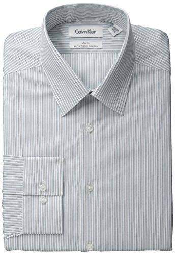 Calvin Klein 男士 条纹修身免熨衬衫