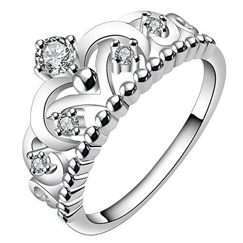 FourHeart 925 Sterling Silver Gorgeous CZ Princess Crown Tiara Band Wedding Cz Eternity Ring
