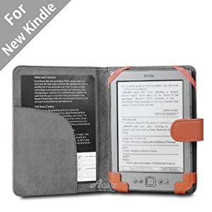 Acase(TM) Classic Kindle (Lastest Generation) Leather Case (Orange) for 4th Generation 6