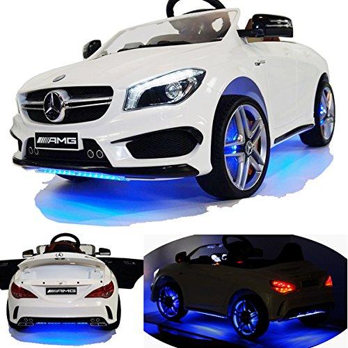 2x MOTEURS* Original Mercedes-Benz CLA-45 AMG Licence - Voiture / Véhicule électrique pour Enfant avec TÉLÉCOMMANDE Porteur Vélo -blanc-