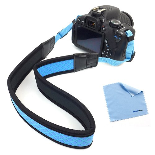 Birugear Blue Anti-Slip Soft Neoprene Camera Shoulder/Neck Strap + Cloth For Canon Eos Sl1 T5 T5I T4I T3I T3 T2I, Sx520, Sx510, Sx500 Is, Sx50 Hs, Nikon P600 P530 P520 P510 L830 L820 L810 L120 Df D3300 D5300 D610 D7100 D5200 D3200 D600 D800 D810 D750 Or A