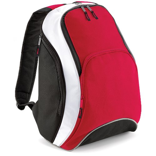 base Bag as a College Student BACKPACK Student sport Leisure BG571 TEAMWEAR BACKPACK-Red, Black and White 21 L Unisex Men's/Women's