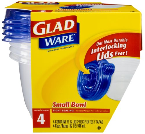 Gladware Small Bowl Food Storage With Interlocking Lids, 32-Ounce, 4-Count Packages (Pack Of 6)