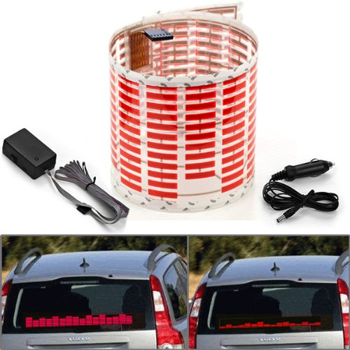 450X110Mm Dc 12V Sound Sensitive Music Beat Activated Car Sticker Equalizer Glow Red Led Light With Car Cigarette Charger Universal Decoration