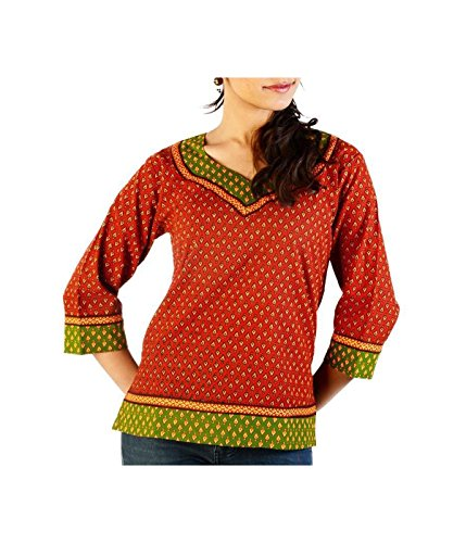 Indian Red Green Ethnic Hand Block Print Cotton Womens Blouse