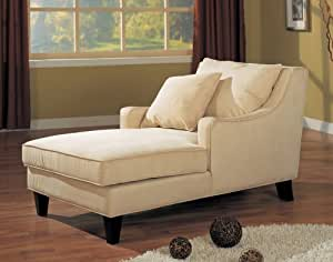 Coaster Comfortable Microfiber Chaise Lounger, Light Beige