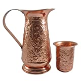 DakshCraft ® Solid Engraved Copper Water Pitcher with Lid & Small Engraved Copper Tumbler