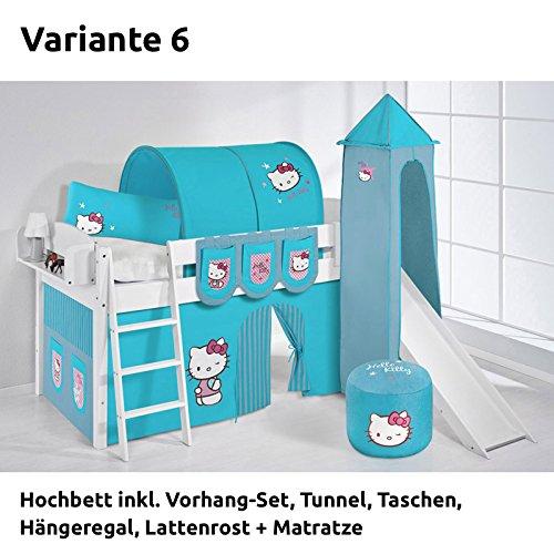 Hochbett Spielbett IDA Hello Kitty Türkis, mit Turm, Rutsche und Vorhang, weiß, Variante 6 jetzt bestellen