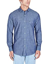 Easies Men's Casual Shirt (8907201340688_81338 E702UASFFSSC_44_Dark Indigo)