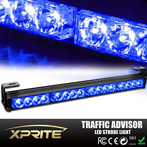 Xprite Emergency Warning Traffic Advisor Vehicle Strobe Light Bar (Blue) (Emergency Blue Light Bar compare prices)