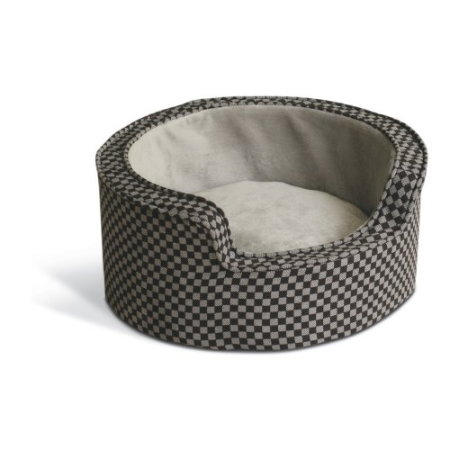 K&H 18-Inch Round Self-Warming Comfy Sleeper, Small, Gray/Black Squares front-968417